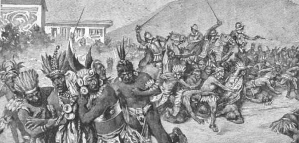 spanish conquistadors attack atahualpa