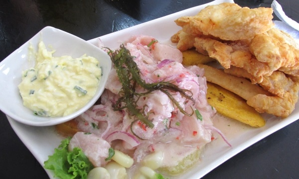 Ceviche and chicharrón de doncella combo at El Rincon de Panchito