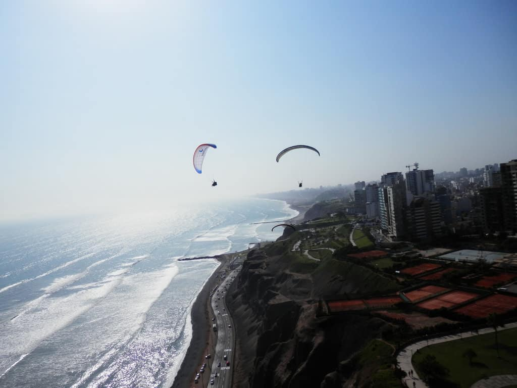 People paragliding Lima